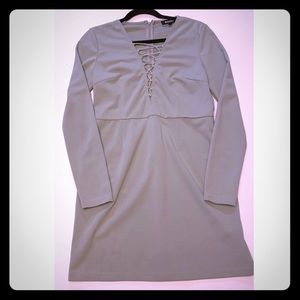 Misguided Long Sleeve Grey Sexy Dress Size 14